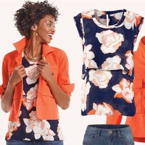 Cabi Blossom Top Navy Cap Sleeve Floral Print